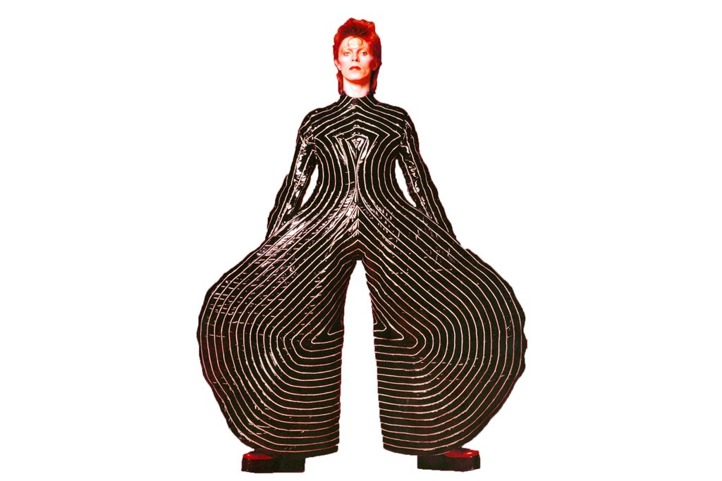 "Kansai Yamamoto's striped bodysuit for David Bowie's 1973 Aladdin Sane tour, in the ""David Bowie"" exhibition."