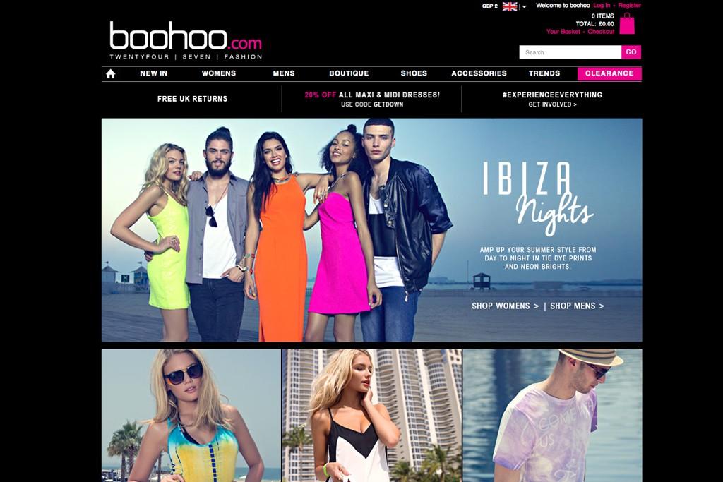 The Boohoo homepage.