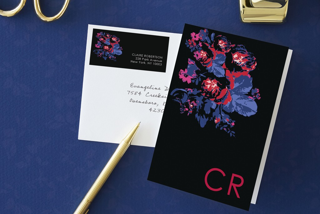 A note card from Charlotte Ronson's Tiny Prints stationery collection.