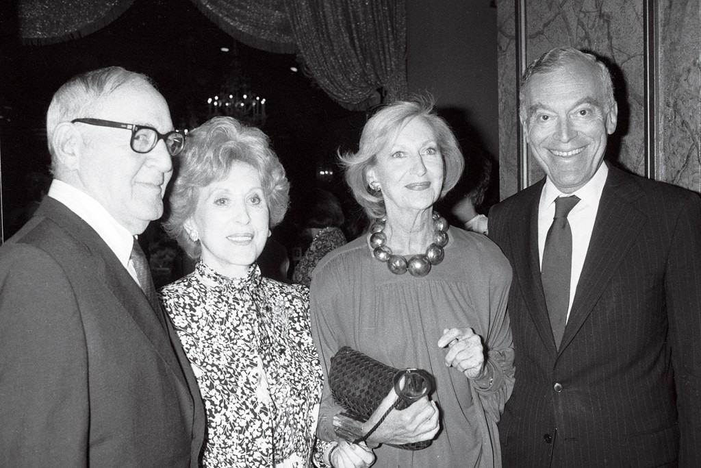 King of Swing Benny Goodman with Lifetime Achievement Awardee Estée Lauder, Carol Phillips and this year's Lifetime Achievement Award winner Leonard A. Lauder at a CEW Lunch in 1986.