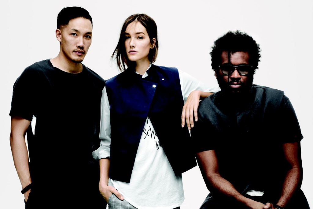 Dao-Yi Chow and Maxwell Osbourne with a model wearing their look for the J.Crew capsule collection.