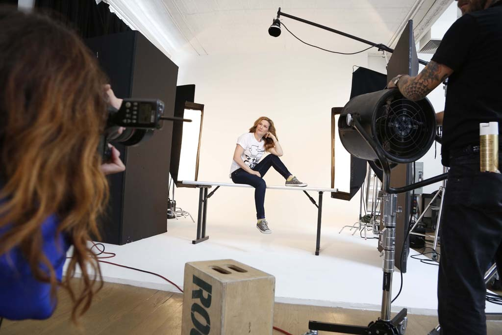 Ana Gasteyer being photographed for Saks Fifth Avenue's Key to the Cure campaign.