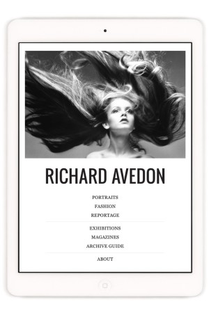 The main menu of Avedon's app featuring a photo of Twiggy.