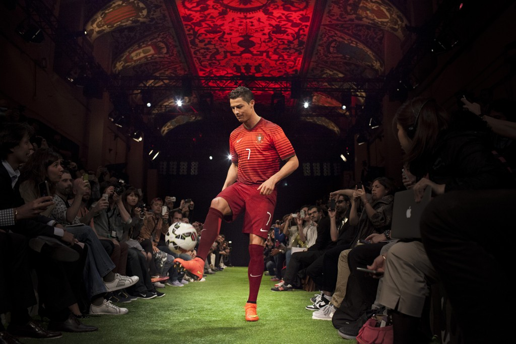 Cristiano Ronaldo showcases Nike's latest kit for Portugal.
