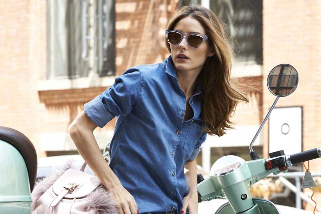 Olivia Palermo in the sunglasses she designed for Westward Leaning.