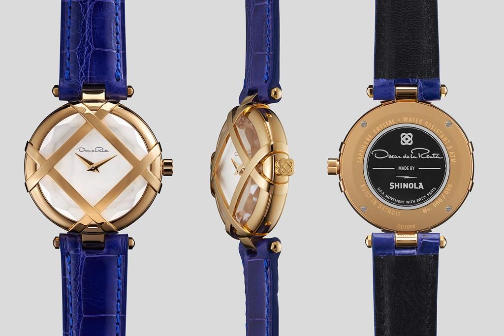 Oscar de la Renta and Shinola's Lattice watch.
