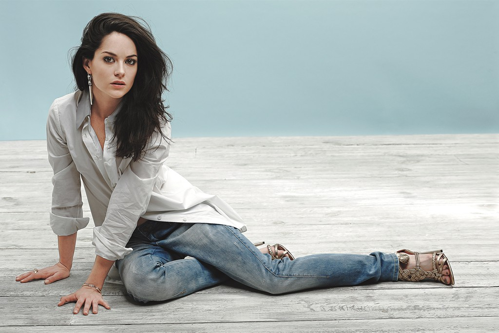 Sarah Greene in Adeam's cotton shirt with leather collar and Sass & Bide's cotton jeans. Robert Lee Morris earrings; Vita Fede bracelet; Pamela Love ring; Brian Atwood shoes.