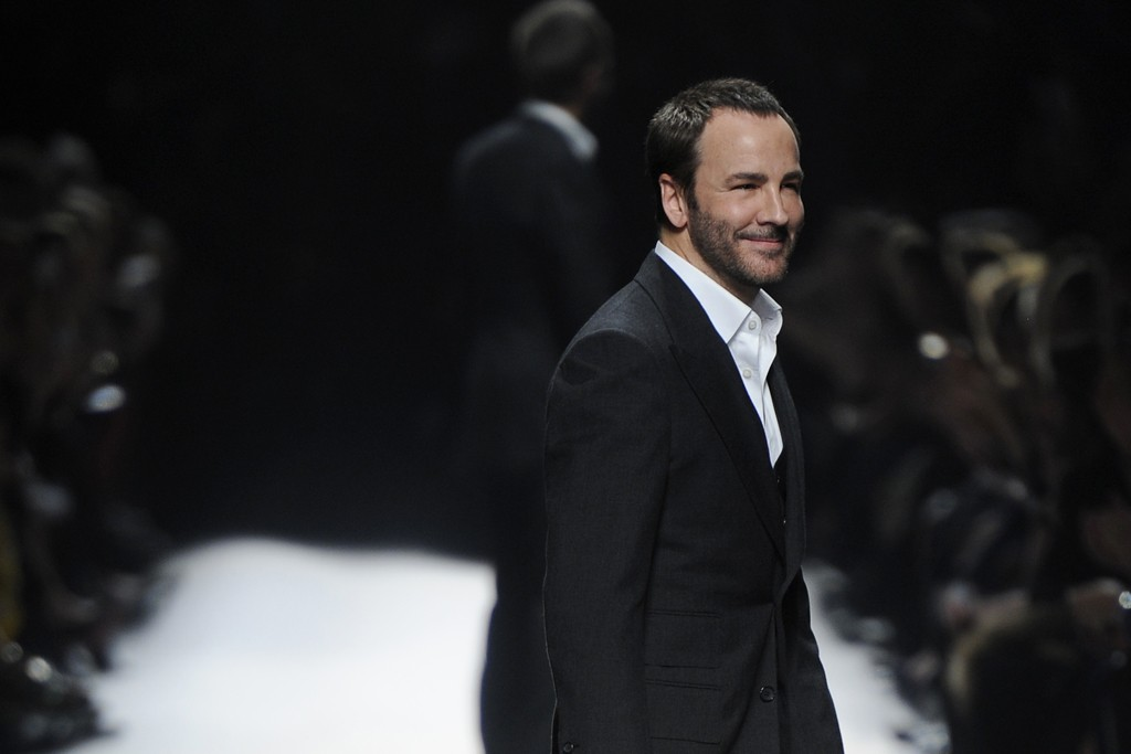 Tom Ford on the runway after the designer's Fall RTW 2014 show in London.