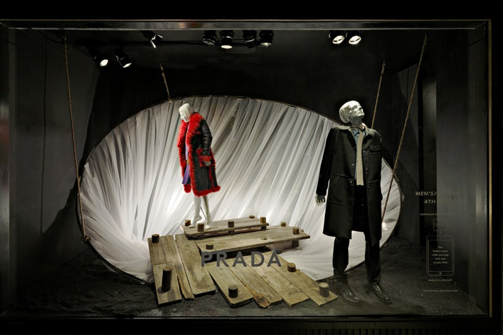 A scene from Barneys Madison Avenue windows featuring Prada?women's and men's fall collections. The collections and windows took inspiration from 20th century avant-garde theater and film.