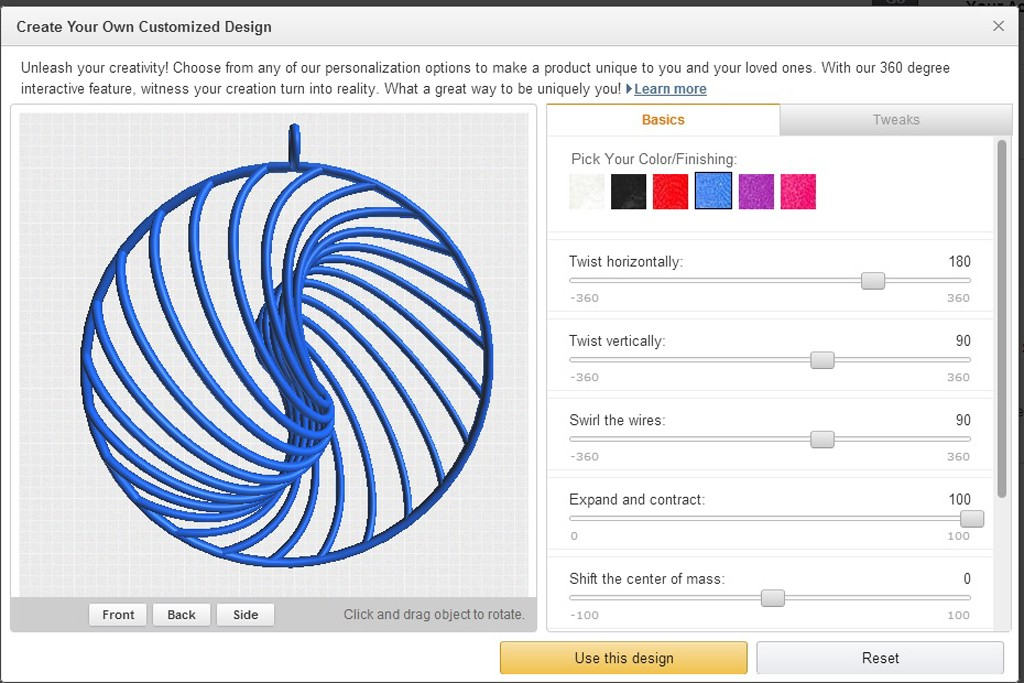Users can customize products using Amazon's design tool.