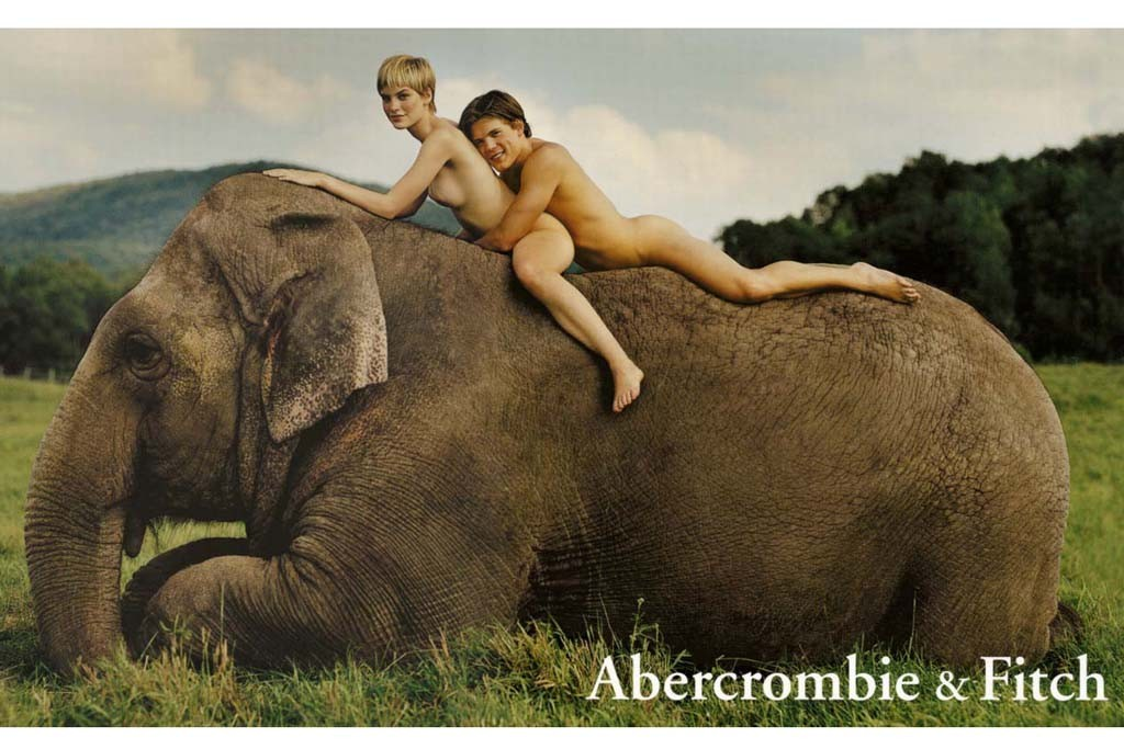 Hunky guys and sexy girls have always played a role in Abercrombie & Fitch's advertising. Here, an ad from 1998.