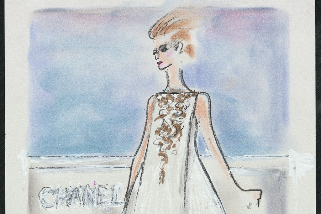 """Karl Lagerfeld's sketch of his fall couture collection for Chanel featuring the inscription """"Le Corbusier goes to Versailles."""""""