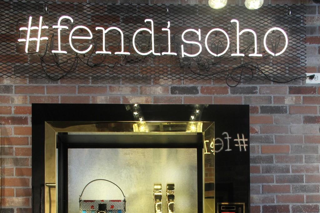 The Fendi pop-up store in SoHo features custom vending machines displaying merchandise.