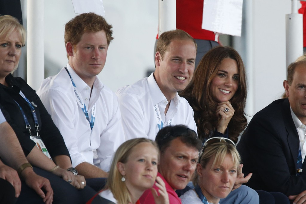 Prince Harry, the Duke of Cambridge and the Duchess of Cambridge in Zara.