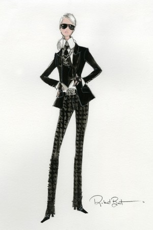 A sketch of the Barbie Lagerfeld doll.