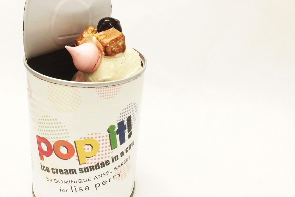 """Lisa Perry's """"Pop It! Ice Cream Sundae in a Can."""""""