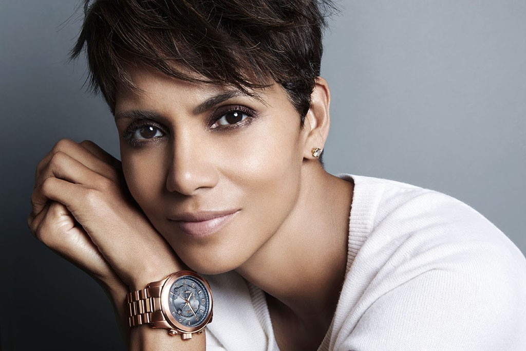 Halle Berry with Michael Kors' new 100 Series watch.