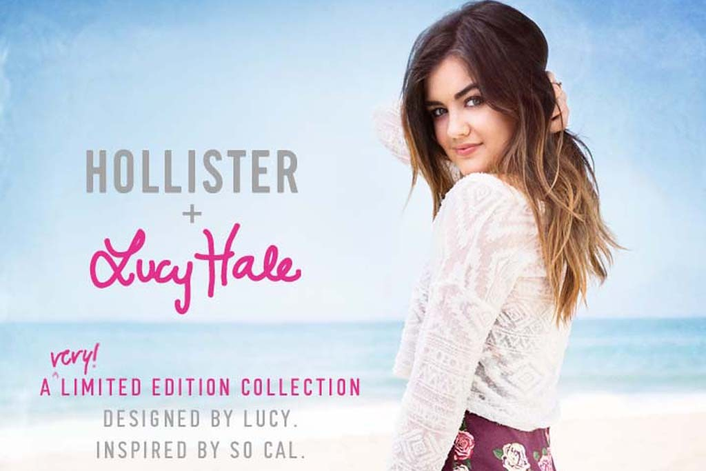 Lucy Hale in an ad for her collaboration with Hollister.