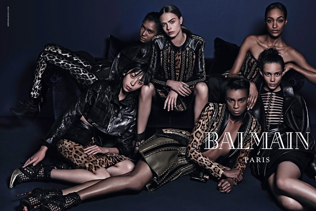 Balmain's fall campaign, shot by Mario Sorrenti and starring a diverse cast of models.