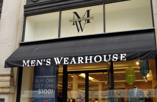 A view outside of a Men's Wearhouse store.