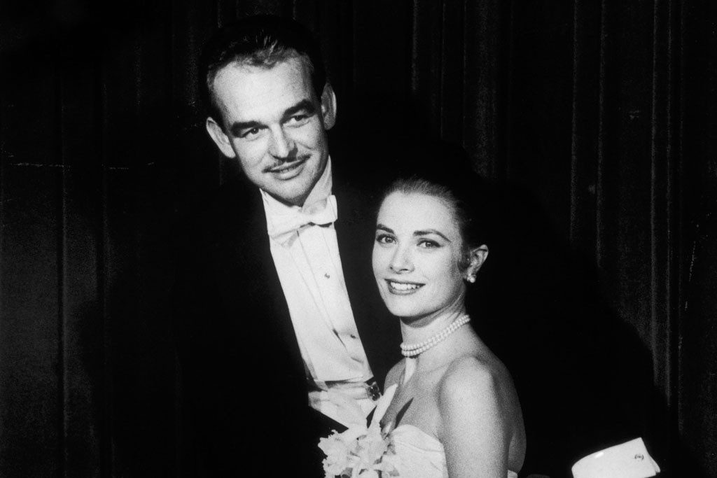 Prince Rainier of Monaco with Princess Grace of Monaco in Dior in New York in 1956.