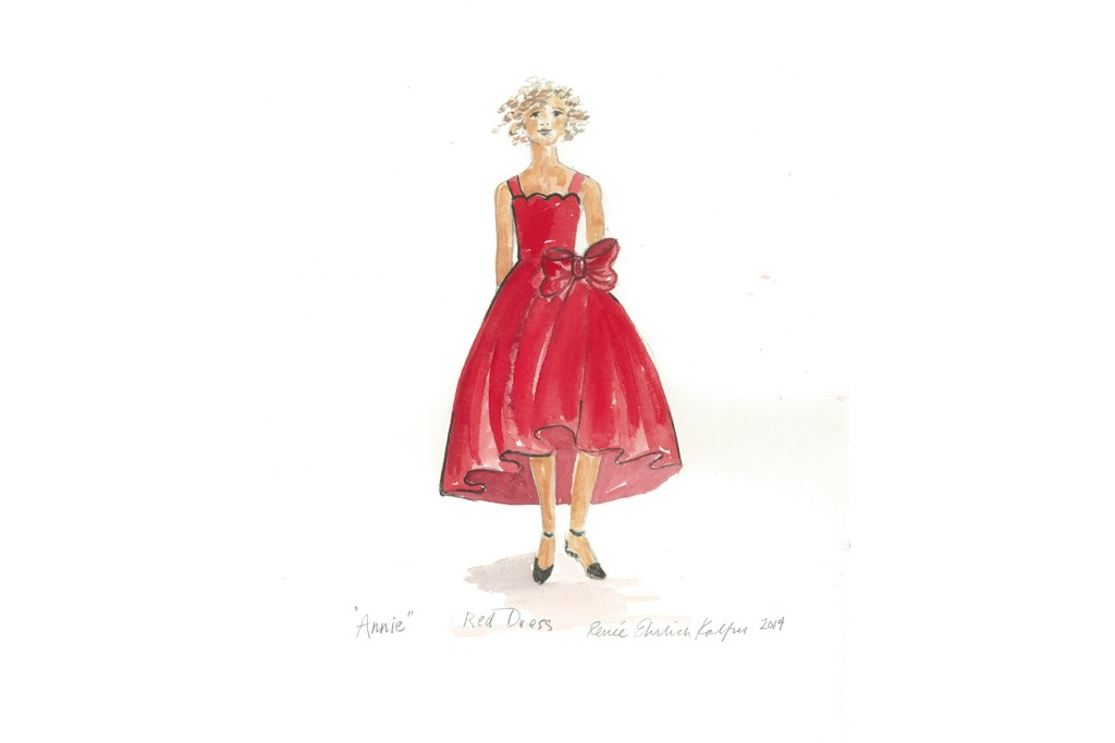 "A sketch of a dress from the ""Annie"" inspired collection."