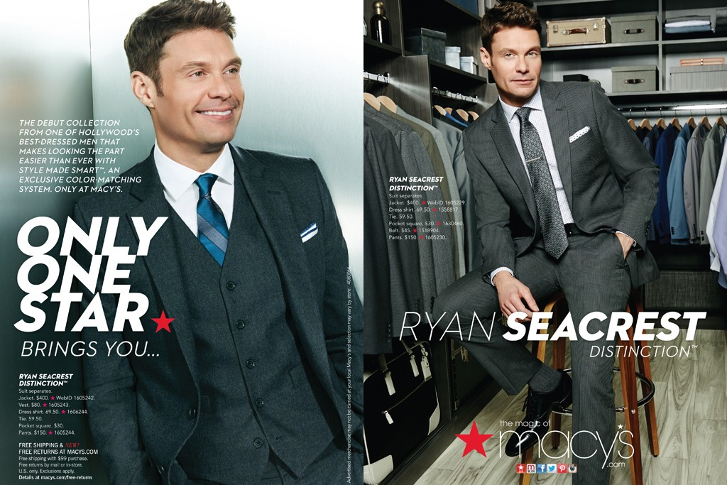 An ad for the Ryan Seacrest Distinction line at Macy's.