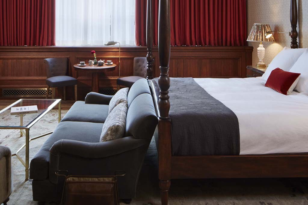 A guest room at Soho House Chicago.