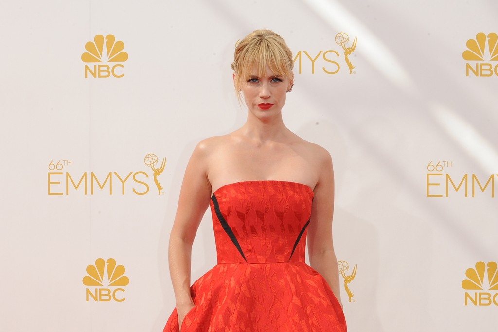 Wearing Prabal Gurung's high-low gown from resort, January Jones hit on one of the season's key silhouette trends.