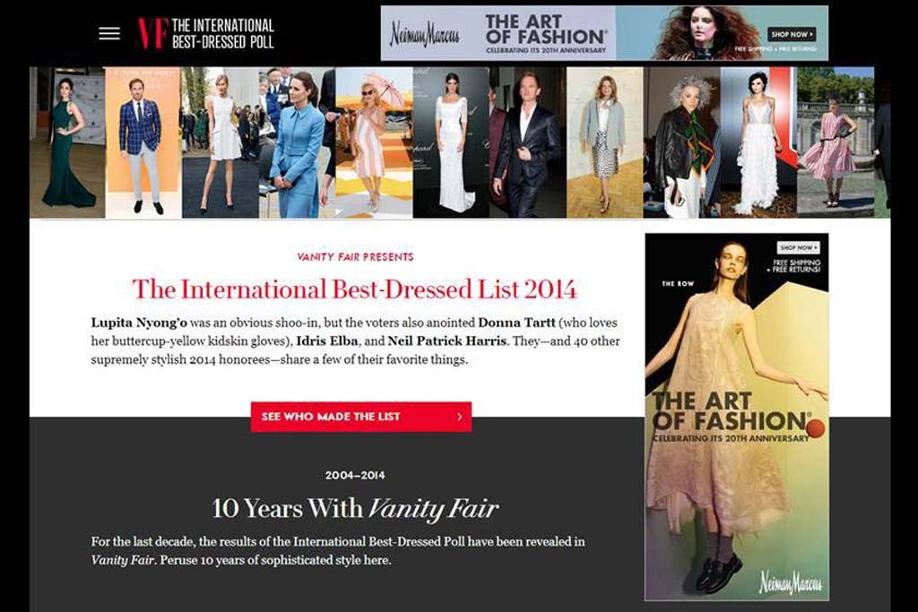 Vanity Fair's Web site for the best dressed list.