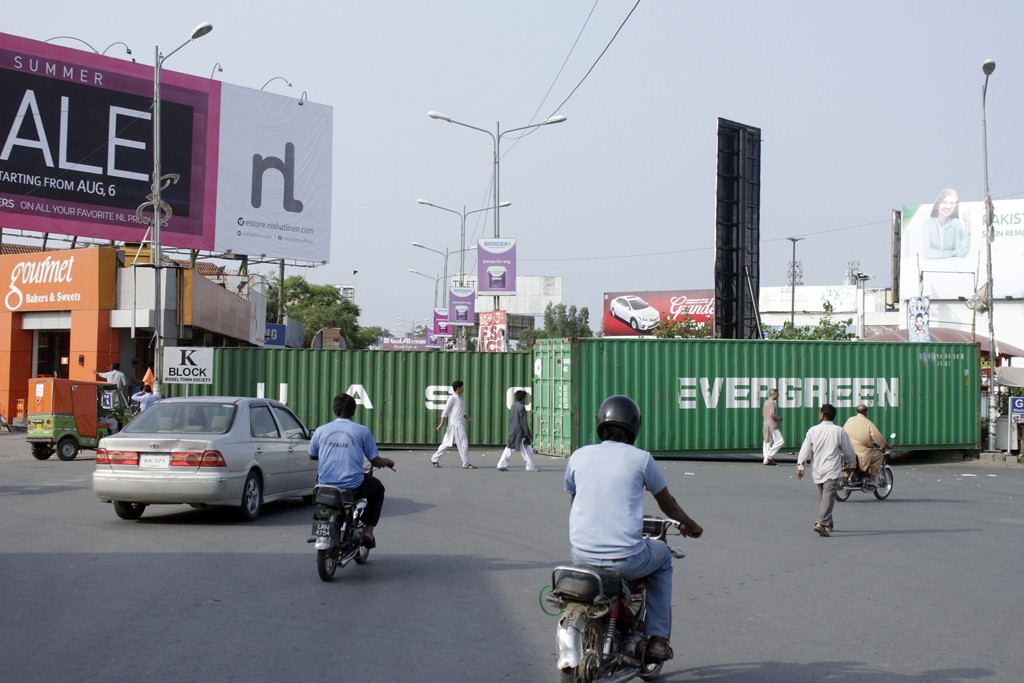 Containers being used as roadblocks in Lahore.