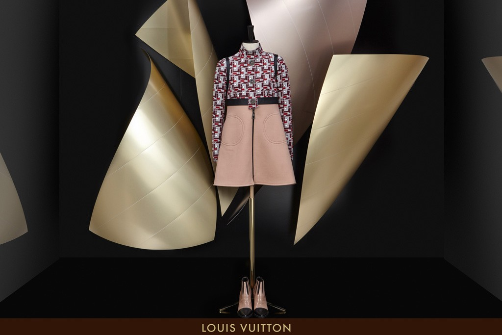 A Louis Vuitton window designed by architect Frank Gehry.