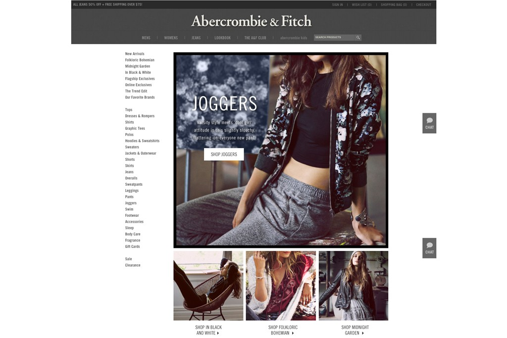 The women's homepage from the Abercrombie site.