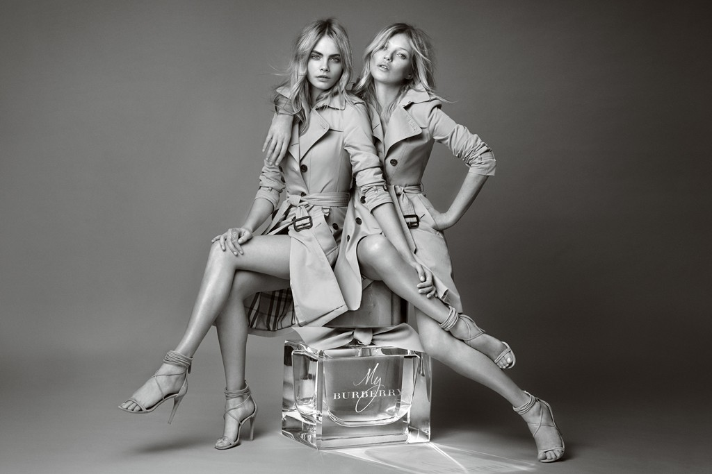 Cara Delevingne and Kate Moss in an ad for My Burberry, shot by Mario Testino.
