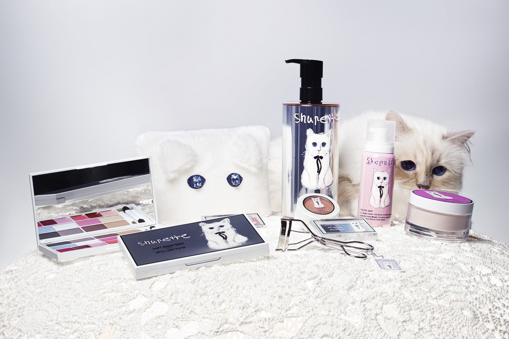 Choupette and the products from the Shupette makeup line.