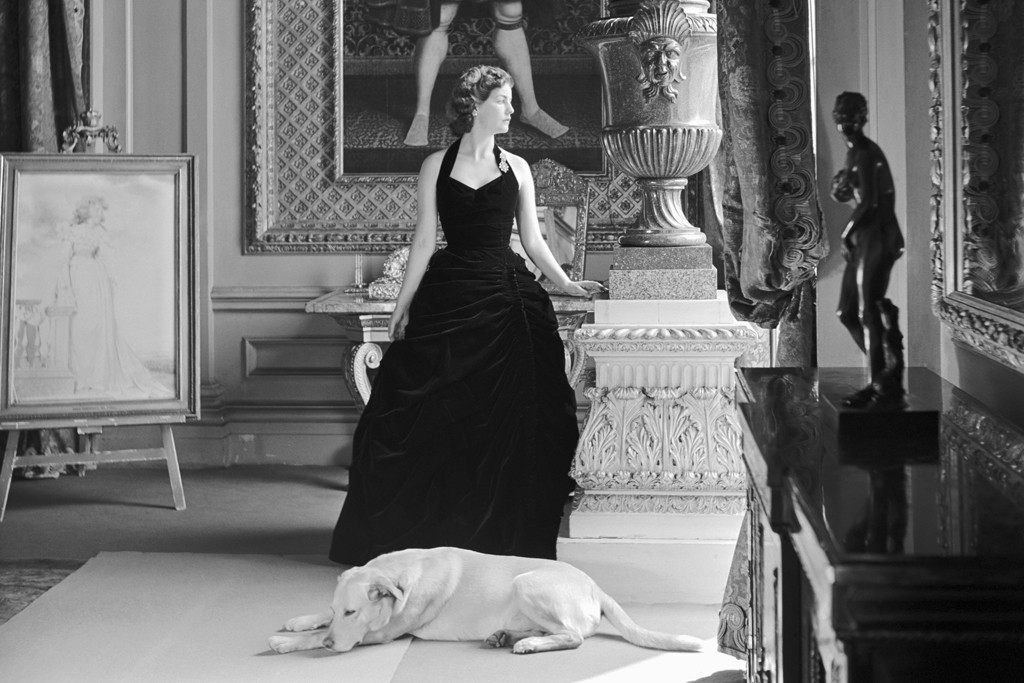 The Duchess of Devonshire in the Gold Drawing Room at Chatsworth in 1952.