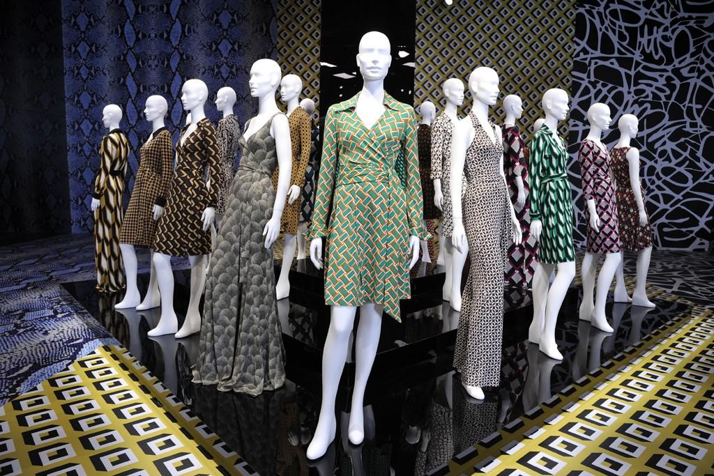 Signature Diane von Furstenberg dresses on display.