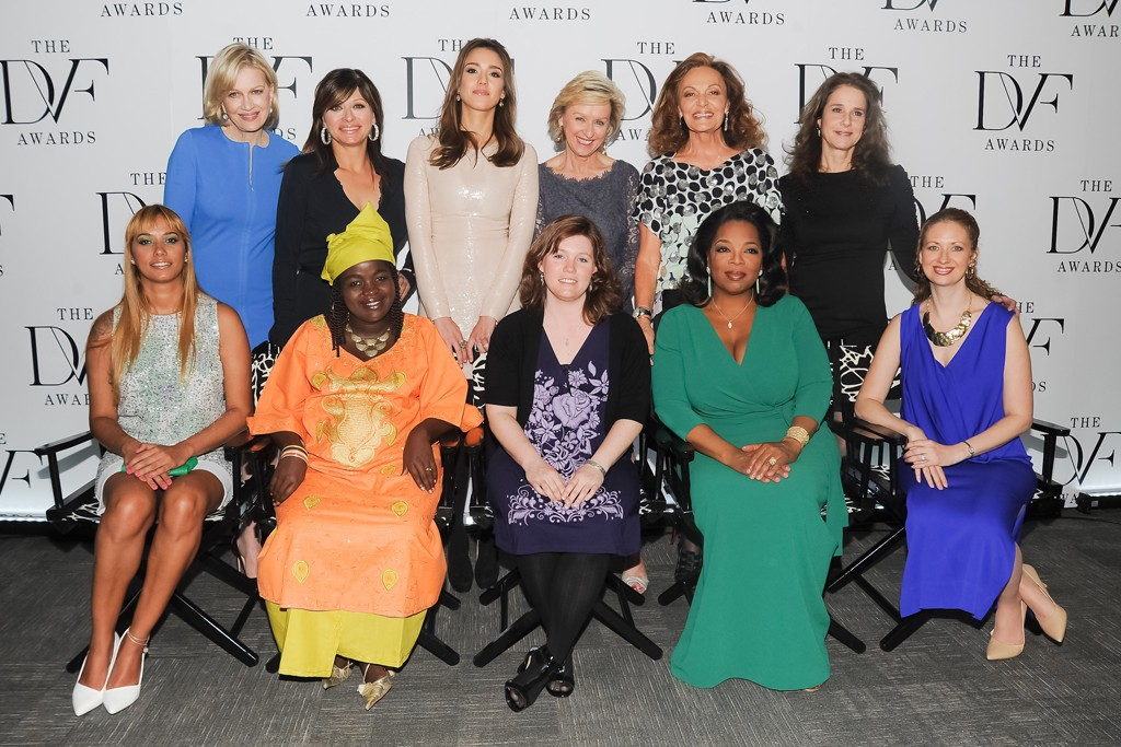 Front row, from left: Panmela Castro, Chouchou Namegabe, Jaycee Dugard, Oprah Winfrey and Layli Miller-Muro. Back row: Diane Sawyer, Maria Bartiromo, Jessica Alba, Tina Brown, Diane von Furstenberg and Debra Winger at the 2012 DVF Awards.