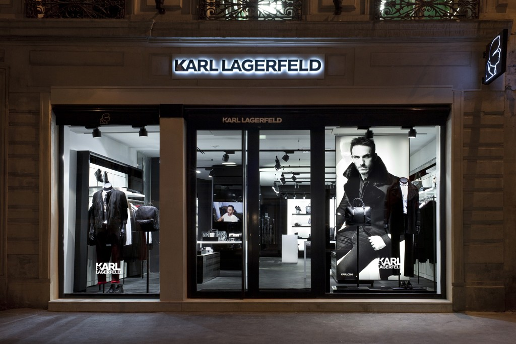 The façade of Karl Lagerfeld's new concept store for men.