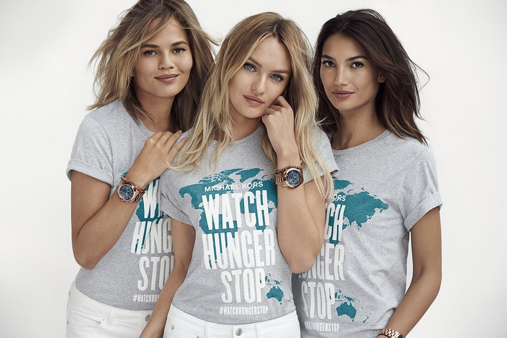 Watch Hunger Stop t-shirt featuring Chrissy Teigen, Candice Swanepoel and Lily Aldridge.