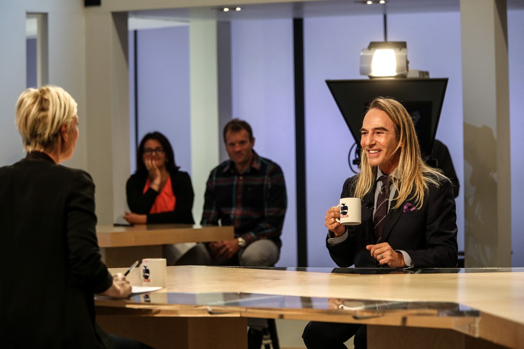 """John Galliano being interviewed on Canal Plus news program """"Le Supplément."""""""