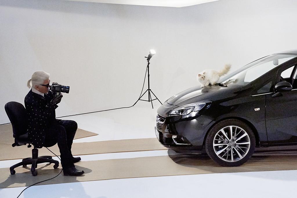 Choupette, Karl Lagerfeld's pet cat, appears in a calendar for carmaker Opel