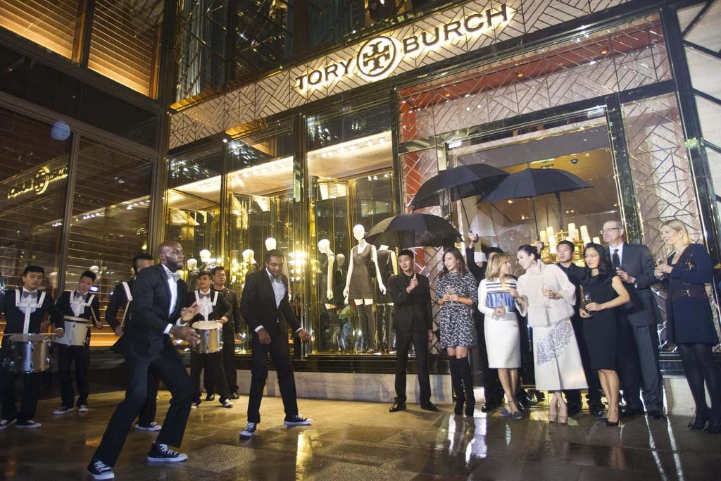 Outside the Tory Burch flagship store opening in Shanghai.