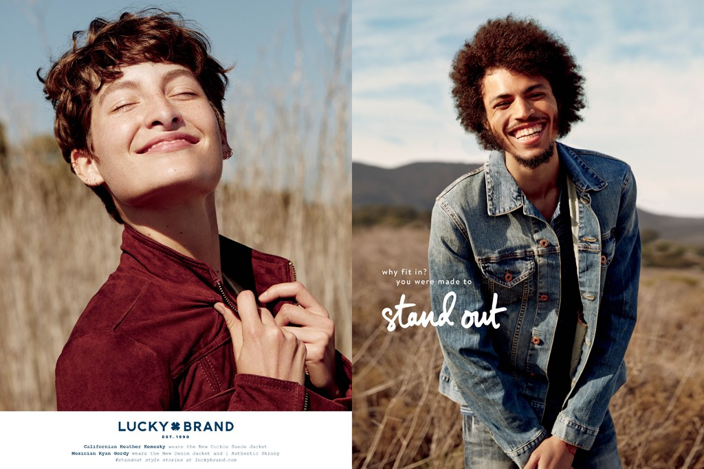 "A visual from Lucky Brand's ""Why fit in? You were made to stand out"" campaign."