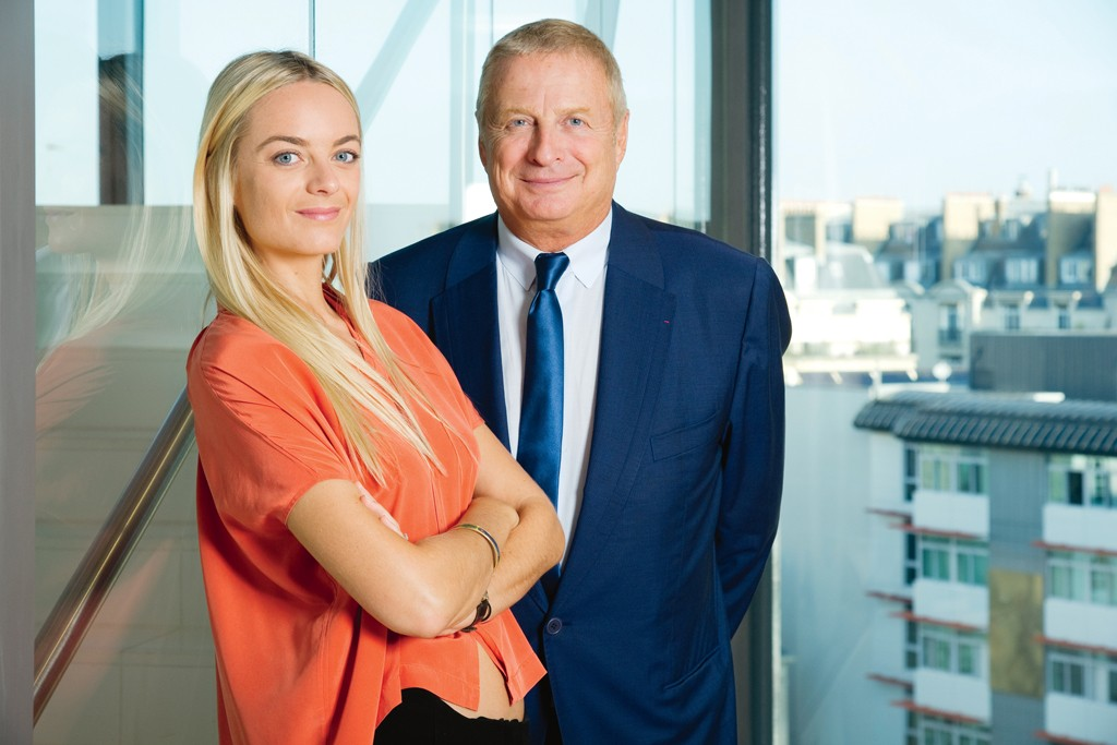 Virginie and Christian Courtin-Clarins photographed in the company's new headquarters.