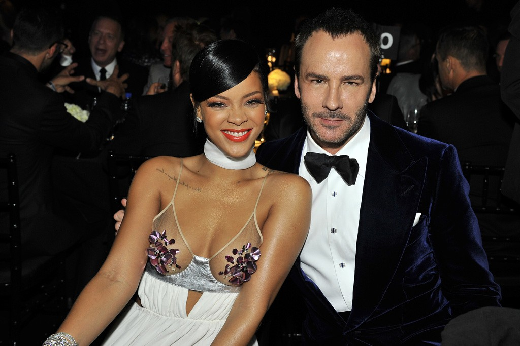 Rihanna in Tom Ford with the designer.