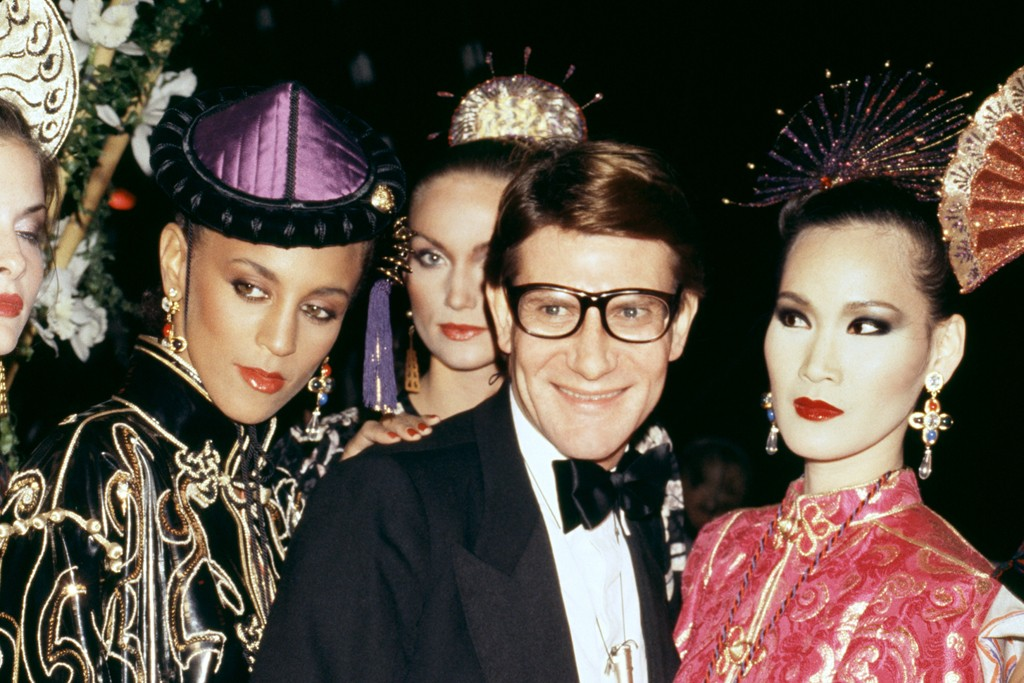 Yves Saint Laurent and models at the Opium party in New York in 1978.