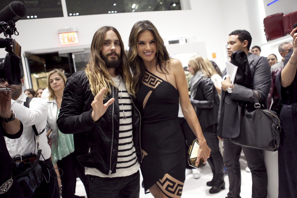 Jared Leto with Alessandra Ambrosio in Anthony Vaccarello X Versus.