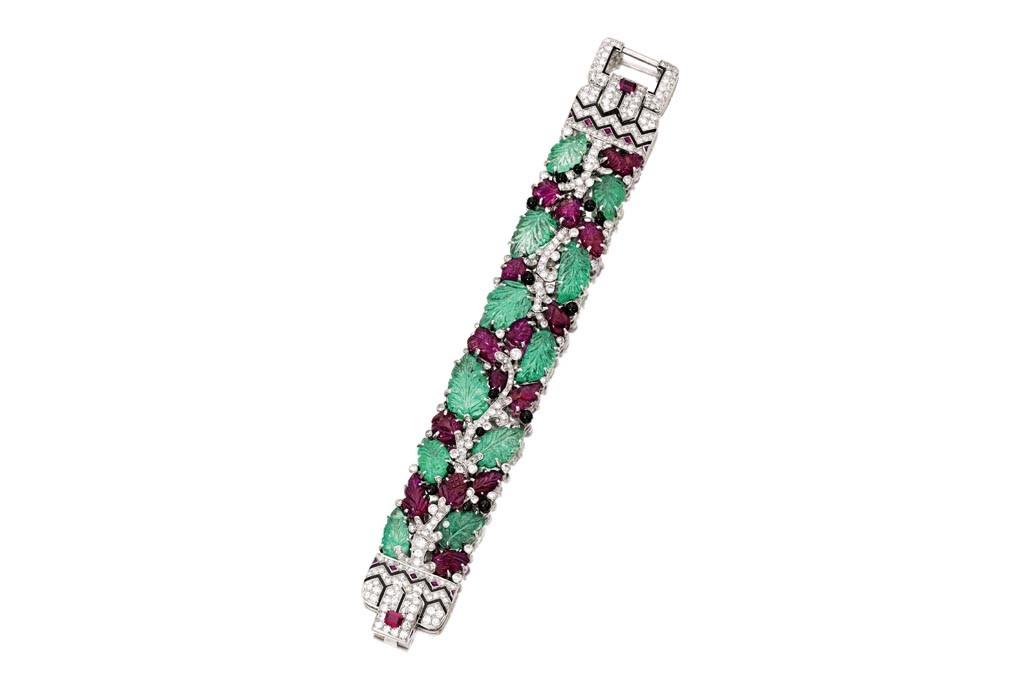 Evelyn H. Lauder's Platinum, Colored Stone, Diamond and Enamel 'Tutti Frutti' Cartier Bracelet.