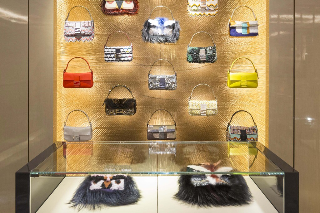 The interior of the Fendi store in Hong Kong.
